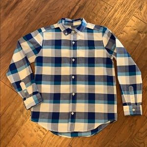 Children's Place Boys Button Up Blue Plaid Shirt